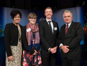 Pro Vice Chancellor (International) Prof Sarah Todd, Elise Stephenson, Elliot Jones, and Griffith University Vice Chancellor Prof Ian O'Connor